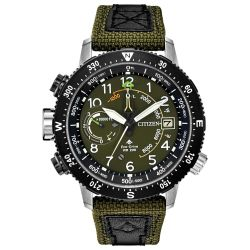 Men's Citizen Eco-Drive Promaster Altichron Green Dial Watch BN5050-09X