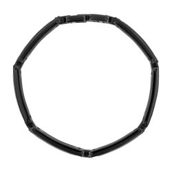 Men's Diamond and Stainless Steel Bracelet with Black Cable Inlay 1/20ctw