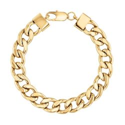 Men's Gold-Plated Stainless Steel Cuban Link Chain Bracelet, 8.5 Inches