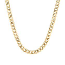 Men's Gold-Plated Stainless Steel Cuban Link Chain Necklace, 22 Inches