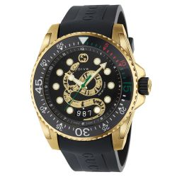 Men's Gucci Dive Gold-Tone Stainless Steel and Black Snake Watch YA136219