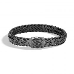 Men's John Hardy Classic Chain 11mm Blackened Sterling Silver Bracelet with Black Sapphires