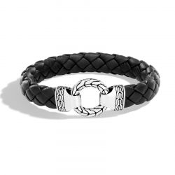 Men's John Hardy Classic Chain 12mm Braided Black Leather Ring Clasp Bracelet