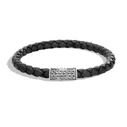 Men's John Hardy Classic Chain 5.5mm Black Leather Bracelet