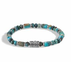 Men's John Hardy Classic Chain Bead Bracelet with Mixed Turquoise