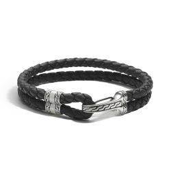 Men's John Hardy Classic Chain Hook Clasp Black Leather Bracelet