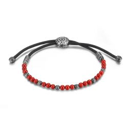 Men's John Hardy Classic Chain Pull Through Bracelet with Stabilized Red Coral, Medium/Large