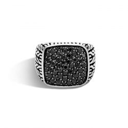Men's John Hardy Classic Chain Signet Ring with Black Sapphires