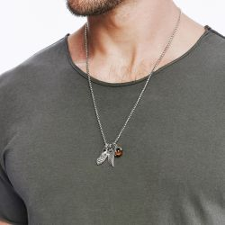 Men's John Hardy Legends Eagle Charm Necklace with Tiger Eye