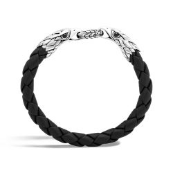 Men's John Hardy Legends Eagle Double Head Black Leather Bracelet