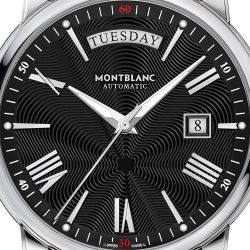 Men's Montblanc 4810 Day Date Black Leather Strap Watch 115936