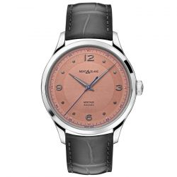 Men's Montblanc Heritage Collection Automatic Salmon Dial Grey Leather Strap Watch 119944