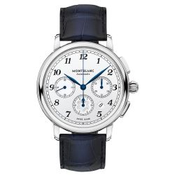 Men's Montblanc Star Legacy Automatic Chronograph Blue Alligator Leather Strap Watch 118514