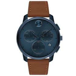 Men's Movado BOLD Chronograph Blue Ion-Plated and Cognac Leather Strap Watch 3600630