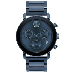 Men's Movado BOLD Evolution Chronograph Blue Ion-Plated Stainless Steel Watch 3600683