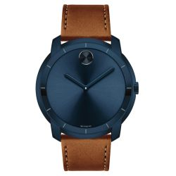 Men's Movado BOLD Large Ink Blue Dial Leather Strap Watch 3600470