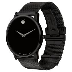 Men's Movado Museum Classic Black PVD Stainless Steel Mesh Bracelet Watch 0607395