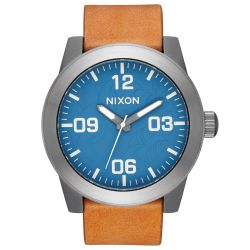 Men's Nixon Corporal Navy Dial Brown Leather Strap Watch A2432854