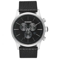 Men's Nixon Sentry Chronograph Black Leather Watch A405-2788-00