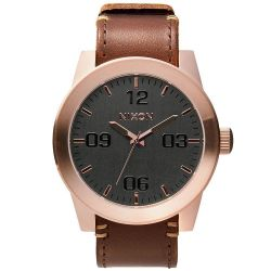 Men's Nixon The Corporal Brown Leather Gunmetal Dial Watch