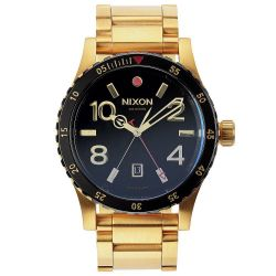 Men's Nixon The Diplomat SS Gold-Tone Black Dial Watch