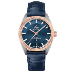Men's OMEGA Constellation Globemaster Blue Leather Strap Watch O13023392103001