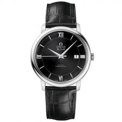 Men's OMEGA De Ville Prestige Black Dial and Leather Strap Watch O42413402001001