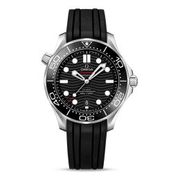 Men's OMEGA Seamaster Diver 300 Co-Axial Black Rubber Strap Watch O21032422001001