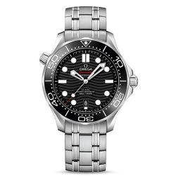 Men's OMEGA Seamaster Diver 300 Co-Axial Brushed Stainless Steel Black Dial Watch O21030422001001