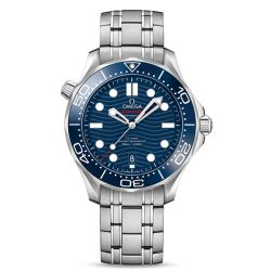 Men's OMEGA Seamaster Diver 300 Co-Axial Brushed Stainless Steel Blue Dial Watch O21030422003001
