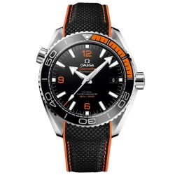 Men's OMEGA Seamaster Planet Ocean Master Black and Orange Rubber Strap Watch O21532442101001