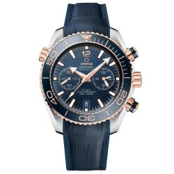 Men's OMEGA Seamaster Planet Ocean Master Chronograph Blue Leather Strap Watch O21523465103001