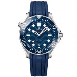 Men's OMEGA Seamaster Professional Diver Blue Dial Rubber Strap Watch O21032422003001