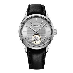 Men's Raymond Weil Freelancer Calibre RW1212 Open Balance Wheel Automatic Black Leather Strap Watch 2780-STC-65001