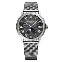 Men's Raymond Weil Maestro Moon Phase Grey Dial Stainless Steel Watch 2239M-ST-00609