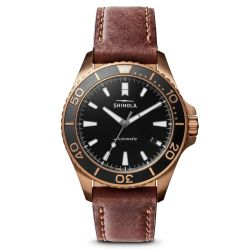 Men's Shinola 'The Bronze Monster' Automatic Leather Strap Watch S0120161956