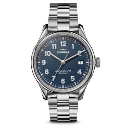 Men's Shinola 'The Vinton' Midnight Blue Dial Stainless Steel Watch S0120161945