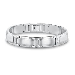 Men's Stainless Steel and Diamond Link Bracelet 1/10ctw
