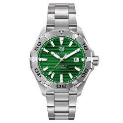 Men's TAG Heuer Aquaracer Calibre 5 Stainless Steel Green Dial Watch WAY2015.BA0927