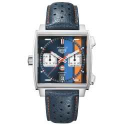 Men's TAG Heuer MONACO Limited Edition Gulf Racing Calibre 11 Automatic Chronograph Watch CAW211R.FC6401