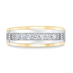 Men's Two-Tone Created White Sapphire Band
