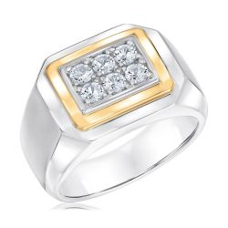 Men's Two-Tone Created White Sapphire Fashion Ring