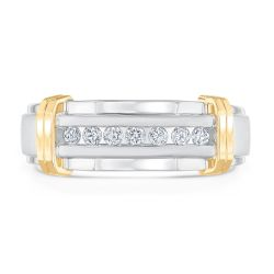 Men's White Gold Diamond Ring with Yellow Gold Bars 1/4ctw