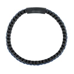 Men's Woven Black and Blue Ion-Plated Stainless Steel Leather Bracelet