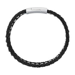 Men's Woven Stainless Steel and Black Leather Bracelet