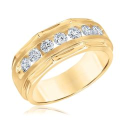 Men's Yellow Gold Channel Set Diamond Ring 1ctw