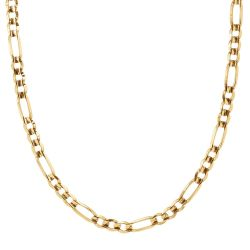 Men's Yellow Gold Concave Figaro Chain Necklace 7.3mm, 22 Inches