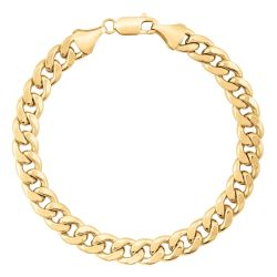 Men's Yellow Gold Cuban Link Chain Bracelet, 8mm