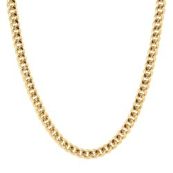 Men's Yellow Gold Curb Chain Necklace 8mm, 24 Inches