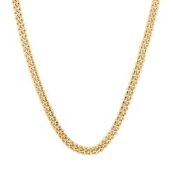 Men's Yellow Gold Miami Cuban Link Chain Necklace 7.3mm, 22 Inches